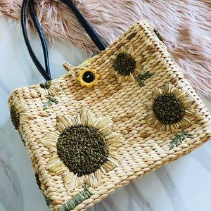 Handbags - Straw handbag sunflower medium sized